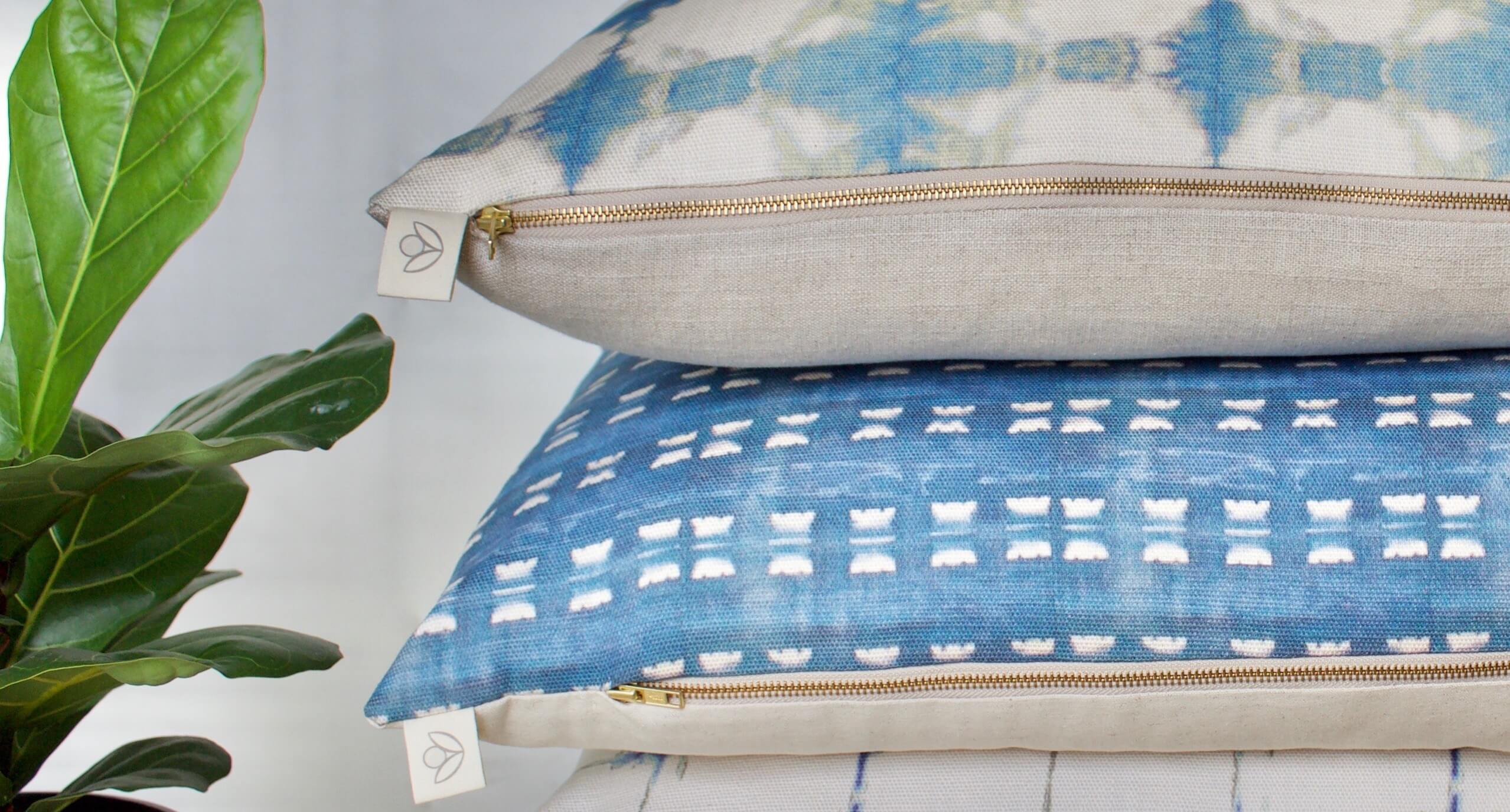 Cottonberry Indigo Bay cushion stackWEB